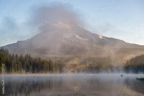 Fishermen on a beautiful misty morning at Mount Hood