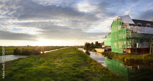Fotografie, Obraz Construction site in a Dutch polder landscape