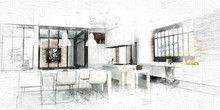 Painting Of A Modern Loft Kitc...