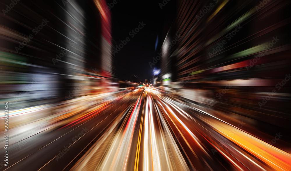 Fototapety, obrazy: Modern street at night with traffic lights