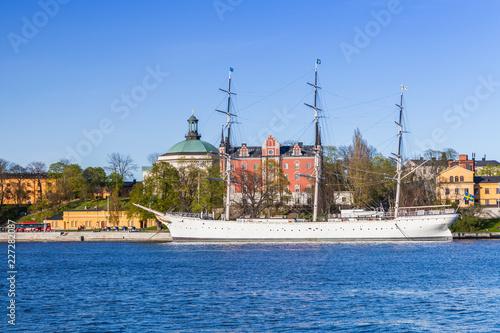Vintage white sailing ship, Stockholm