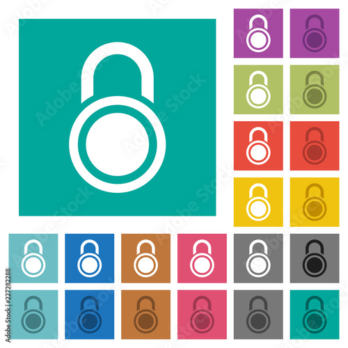 Fotografie, Obraz  Locked round padlock square flat multi colored icons