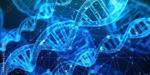 Fotografia  adn,dna,Acide, désoxyribonucléique,bleu,blue,3d