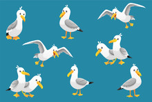 Vector Set Of Cute Seagulls Is...