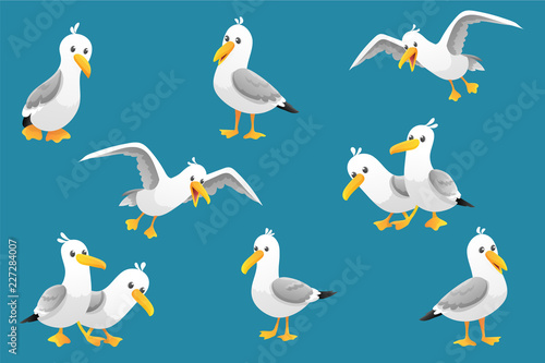 Fotografija Vector set of cute seagulls isolated on blue background