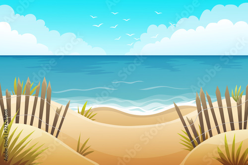 Cuadros en Lienzo Scenery of sand dunes beach with grass and wood fences