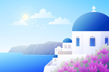 Sunny Scenery Of Greek Island Santorini. Traditional White Building With Blue Dome. Blue Sky And Sea Background. Vector Illustration.