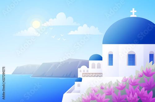Fototapeta Sunny scenery of greek island Santorini. Traditional white building with blue dome. Blue sky and sea background. Vector illustration. obraz
