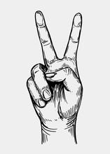 Peace Sign. Hand Gesture. Sketch Illustration Converted To Vector