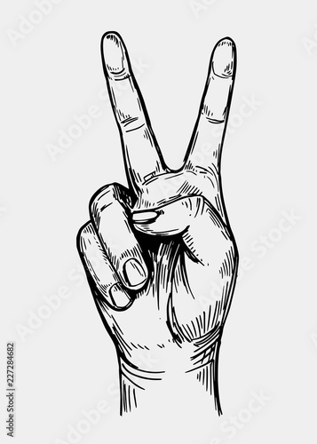 Peace sign. Hand gesture. Sketch illustration converted to vector Fotobehang