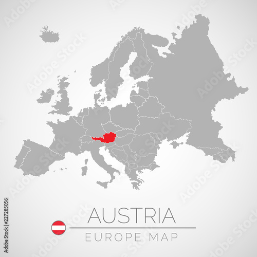 Fotomural  Map of European Union with the identication of Austria