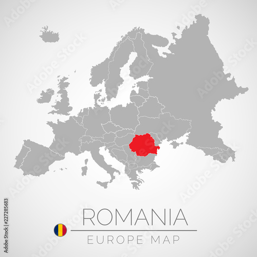 Map of European Union with the identication of Romania Canvas Print