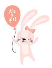 Baby Shower Card. It's A Girl Pink Bunny With A Balloon. Cute Rabbit Character. Nursery Wall Art Illustration.