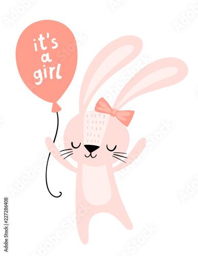 Karta baby shower. To różowy króliczek z balonem. Słodki charakter królika. Ilustracja sztuki ściany przedszkola.
