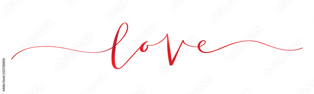 Fototapeta LOVE brush calligraphy banner