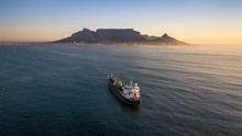 Cape Town Table Mountain Container Ship