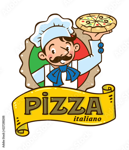 Emblem of funny italian chef with pizza and logo