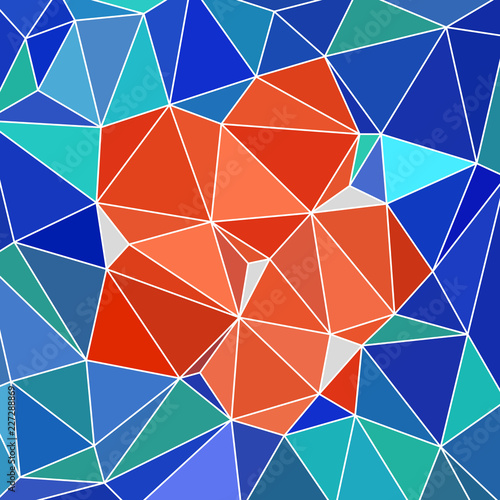 Fotografie, Obraz  abstract vitrage with triangular multi colors grid