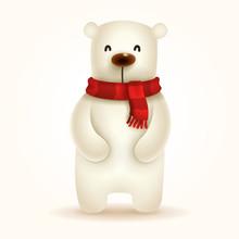 Christmas Polar Bear With Red Scarf.