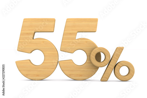 Photographie  fifty five percent on white background. Isolated 3D illustration