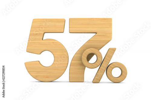 fifty seven percent on white background. Isolated 3D illustration