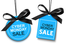 Cyber Monday Sale Tag With Black Bow For Your Design. Vector Set Of Discount Labels Isolated On White Background