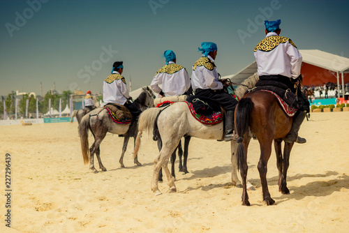 Horseman riding in their ethnic clothes on horse
