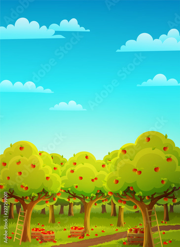 Spoed Foto op Canvas Turkoois Colorful landscape of an apple orchard during harvest. Ladder and wooden crate filled with ripe red apples. Vector illustration.
