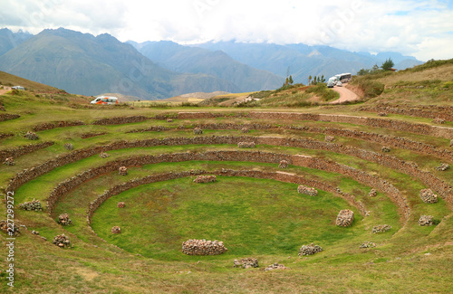 Fotobehang Zuid-Amerika land Ruins of Moray(the smaller one), the Incan agricultural terraces in Sacred Valley of the Incas, Cusco Region, Peru