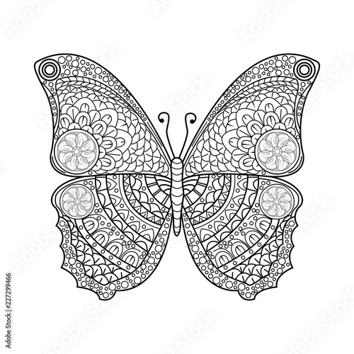 Vector Illustration Of A Mandala Butterfly For Coloring Book