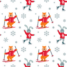 Winter Seamless Patter With Skating Hare, Skiing Chipmunk And Snowflakes. Christmas Design. Vector Illustration.