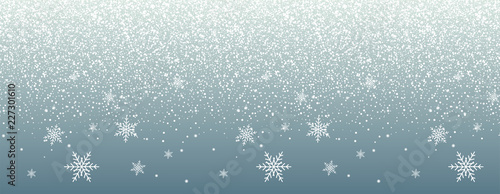 Obraz Falling snow on blue background. Realistic falling snowflakes. Christmas and New Year design - fototapety do salonu