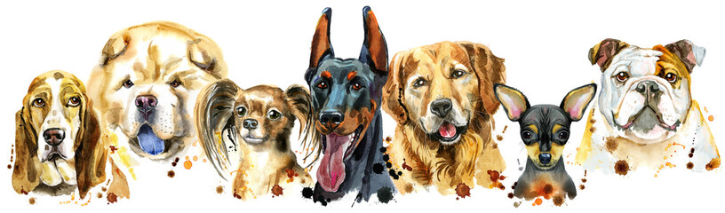 FototapetaBorder from watercolor portraits of dogs for decoration