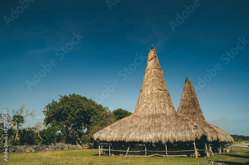 Keuken foto achterwand Historisch geb. Straw roof hut, traditional Sumba village. Indonesia. The authentic Sumbanese houses