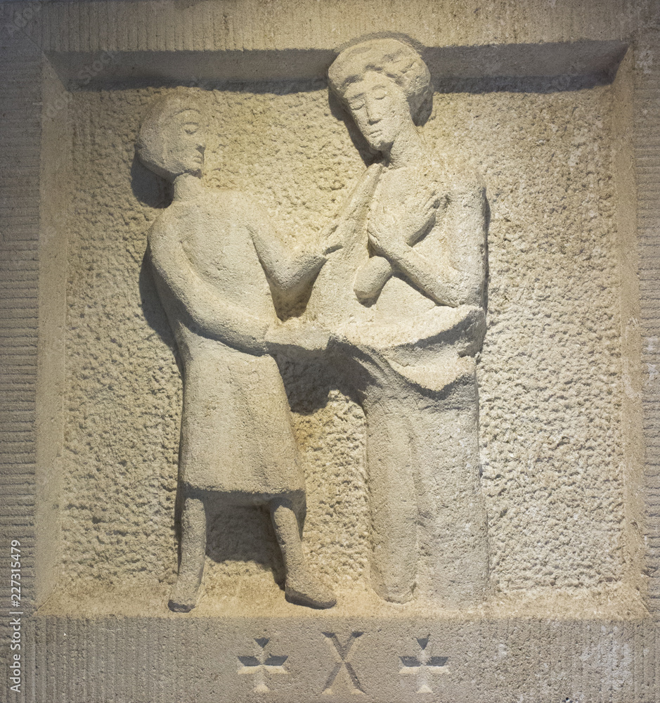 Fototapeta Holy Cross, Poland, September 7, 2018: Former Benedictine monastery and now the Missionary Oblates of Mary at the Holy Cross, Lysa Gora. A stone plaque with a very simple symbolism of the Way of Cross