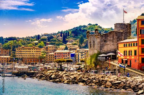 Photographie  italian riviera landscape Santa Margherita Ligure castle italy
