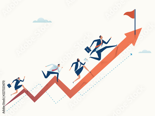 Obraz Running towards the goal. Business vector illustration - fototapety do salonu