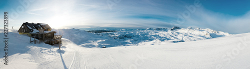 Fotografering Beautiful panoramic winter landscape with piste