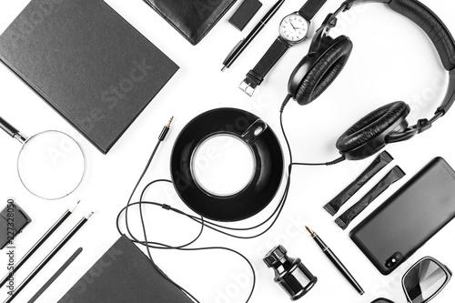 Fototapeta Set of black identity elements on white background. Branding mockup. Top view. obraz na płótnie