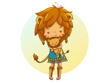 Cute Little Lion Girl With Bro...