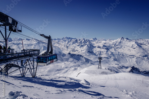 The Grande Motte gondola in Espace Killy the ski resorts of Tignes and Val D'Isere. Espace Killy is a name given to a ski area in the Tarentaise Valley, Savoie in the French Alp