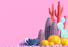 Decorative Composition Of Groups Of Different Species Of Multicolored Cacti On Pink Background. Contemporary Art. Сopy Space. 3D Rendering.