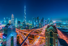 Twilight, Downtown Dubai, Emirate Of Dubai, UAE, Asia