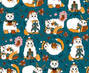 Christmas cats seamless pattern