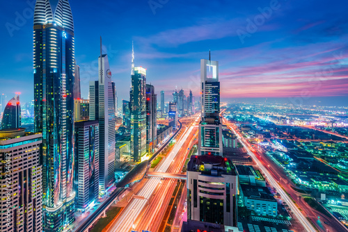 High Rises on Sheikh Zayed Road at twilight, Downtown Dubai, Emirate of Dubai, UAE, Asia