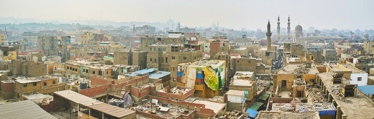 Panorama of old Cairo district, Egypt