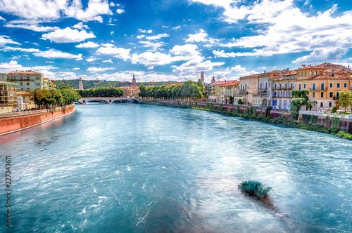 In de dag Havana View Over Adige River in Verona, Italy