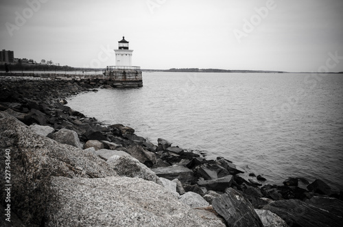 Fotografie, Tablou  Black and white view of the Portland Bug Ligththouse, a breakwater Light house i