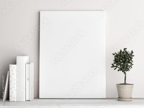 Fototapeta Mock up poster, Scandinavian background design, pastel colored, 3d render, 3d illustration obraz na płótnie