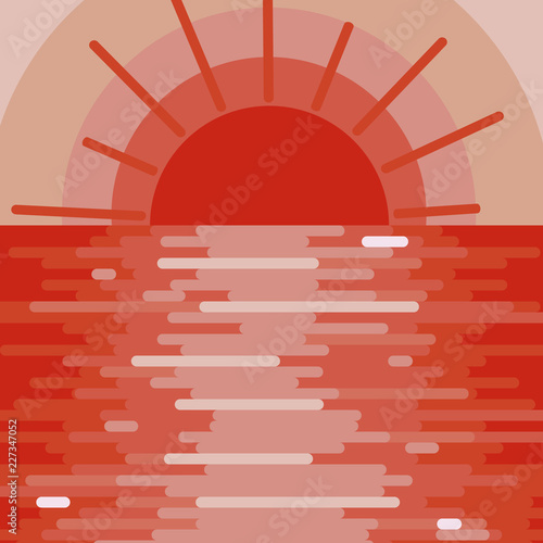 Foto op Aluminium Zalm Red bright background, landscape with sunset on the water